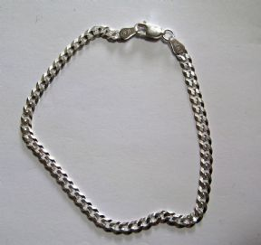 Ladies 7.5 inch Sterling silver 3.5mm flat curb bracelet 2.94g